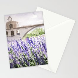 Lavenders Field and Bridge in Avignon Stationery Cards