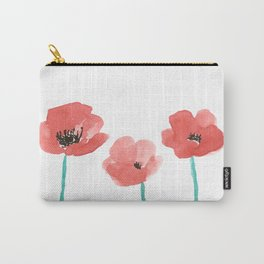Three Poppies \\ Watercolor Flowers Carry-All Pouch