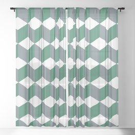 Diamond Repeating Pattern In Quetzal Green and Grey Sheer Curtain
