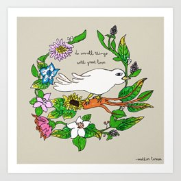 Tarachand's Floral Wreath and Bird with Mother Teresa quote Art Print
