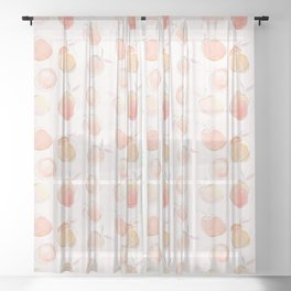 Summer Peaches Fruit Pattern Sheer Curtain