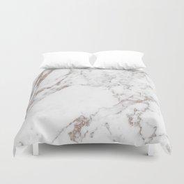 Rose gold shimmer vein marble Duvet Cover