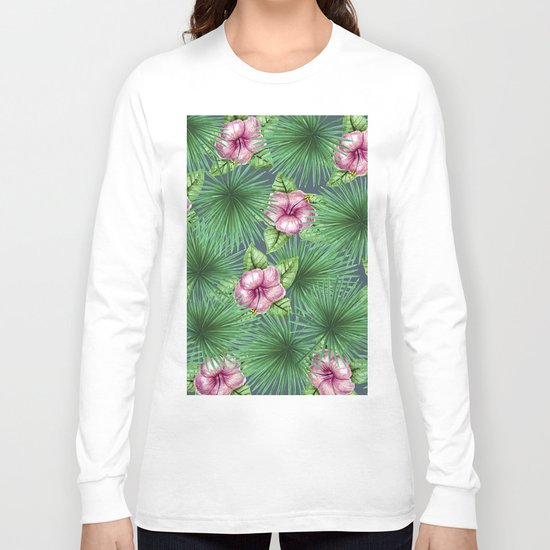 Jungle Love, Palm Leaves And Hibiscus Long Sleeve T-shirt
