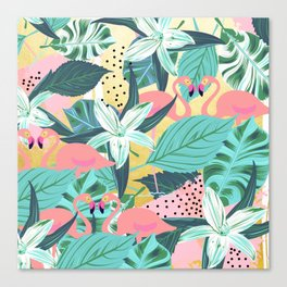 Flamingo Tropical #society6 #decor #buyart Canvas Print