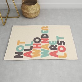 Not All Who Wander Are Lost Typography - Retro Rainbow Rug