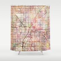 las vegas Shower Curtains featuring Las Vegas by MapMapMaps.Watercolors