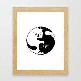 black and white cat yinyang Framed Art Print