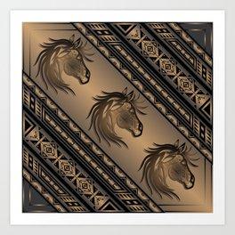 Horse Nation (Brown) Art Print