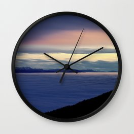 Cloudsea and Sunset over Switzerland from Mont de Baulme Wall Clock