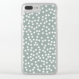 Medium Gray Green and White Polka Dot Pattern Clear iPhone Case