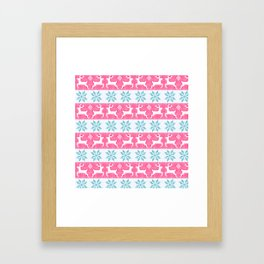 Watercolour Fair Isle in Pink & Blue Framed Art Print