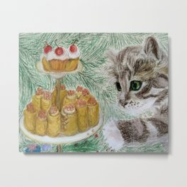Kitten (Pancakes with Red Cavier and Cakes with Cherry) Metal Print