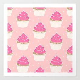 Pink Cupcakes with Frosting Art Print
