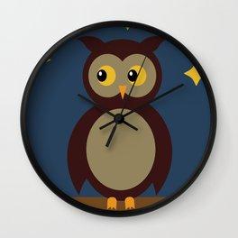Brown Owl Moon Wall Clock