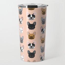 French Bulldog portraits pattern dog person gift love animal pet puppy frenchie bulldog portrait Travel Mug
