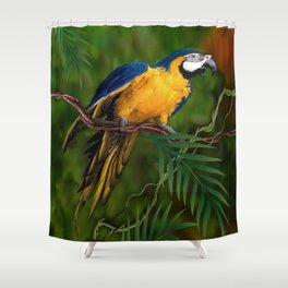 BLUE-GOLD MACAW PARROT IN JUNGLE Shower Curtain