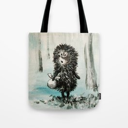 Hedgehog in the fog Tote Bag