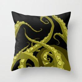 Subterranean - Green Tentacle Throw Pillow
