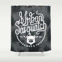 sasquatch Shower Curtains featuring Urban Sasquatch Logo by Urban Sasquatch