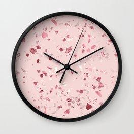 Pink Quartz Glitter Terrazzo Wall Clock
