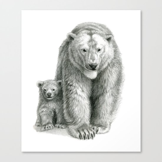 Polar bear and cub SK041 Canvas Print