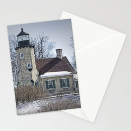 Lighthouse during Winter in Whitehall Michigan Stationery Cards