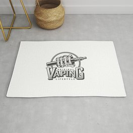 Vintage Vaping Logotypes With Letterings Hand Holding Vape Illustration Rug