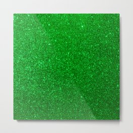 Emerald Green Shiny Metallic Glitter Metal Print