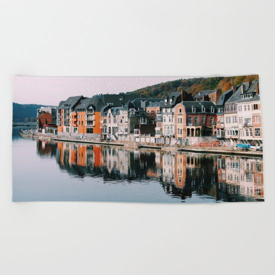 VILLAGE - HOUSE - RIVER - REFLECTION - PHOTOGRAPHY Beach Towel