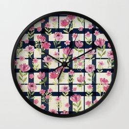 Sweetly Pink & Navy Vintage Plaid Wall Clock