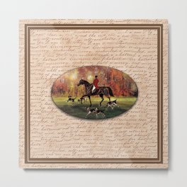 Autumn Fall foxhunter and hounds Metal Print