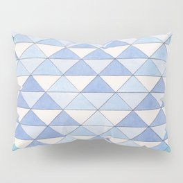 Triangle Pattern No. 9 Shifting Blue and Turquoise Pillow Sham