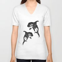 orca V-neck T-shirts featuring orca by Manoou