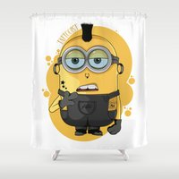 minion Shower Curtains featuring Minion Tattooist by Vanesa Abati