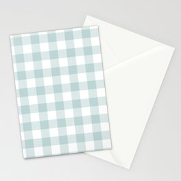 Charcoal Sky Checker Gingham Plaid Stationery Cards