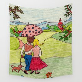 Loving couple in spring Wall Tapestry