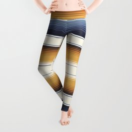 Indigo Blue, Amber Brown and Navajo White Southwest Serape Blanket Stripes Leggings