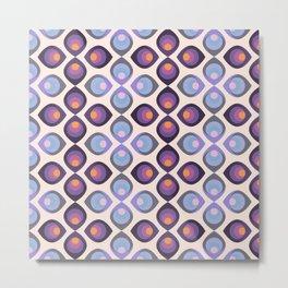 Retroflower - purple and azure petals Metal Print