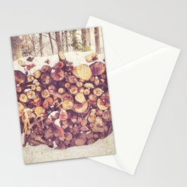 Winter Wood Pile Photography Stationery Cards