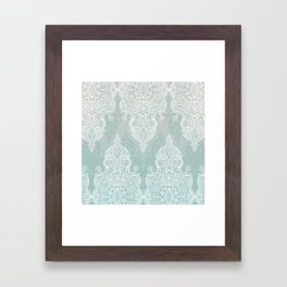 Lace & Shadows - soft sage grey & white Moroccan doodle Framed Art Print
