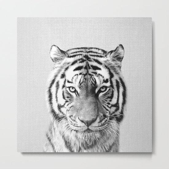 Tiger - Black & White Metal Print
