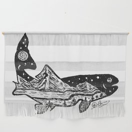 """""""Trout Dreams"""" Hand Drawn Double Exposure Fishing Camping Art Wall Hanging"""