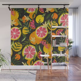 Grapefruit Blooms – Charcoal Palette Wall Mural
