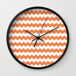 Chevron orange nectarine Wall Clock