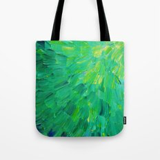 SEA SCALES in GREEN - Bright Green Ocean Waves Beach Mermaid Fins Scales Abstract Acrylic Painting Tote Bag