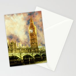 Abstract Golden Westminster Bridge in London Stationery Cards