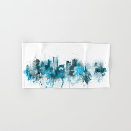 Liverpool Monochrome Blue Skyline Hand & Bath Towel