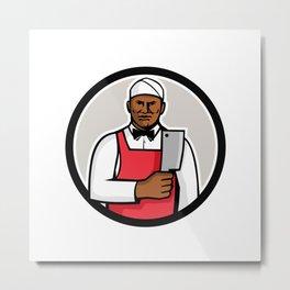 African American Butcher Circle Mascot Metal Print