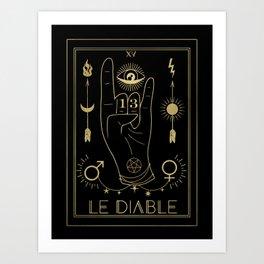 Le Diable or The Devil Tarot Gold Art Print