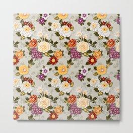 flowerily -grey Metal Print